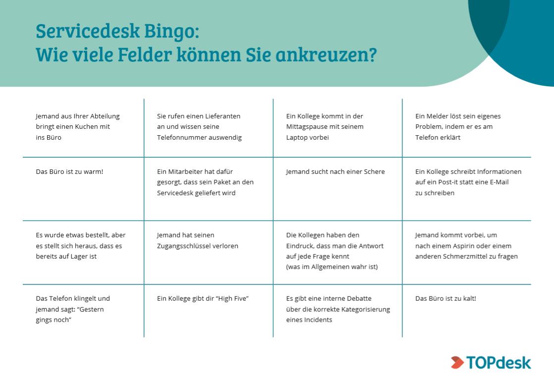Servicedesk Bingo
