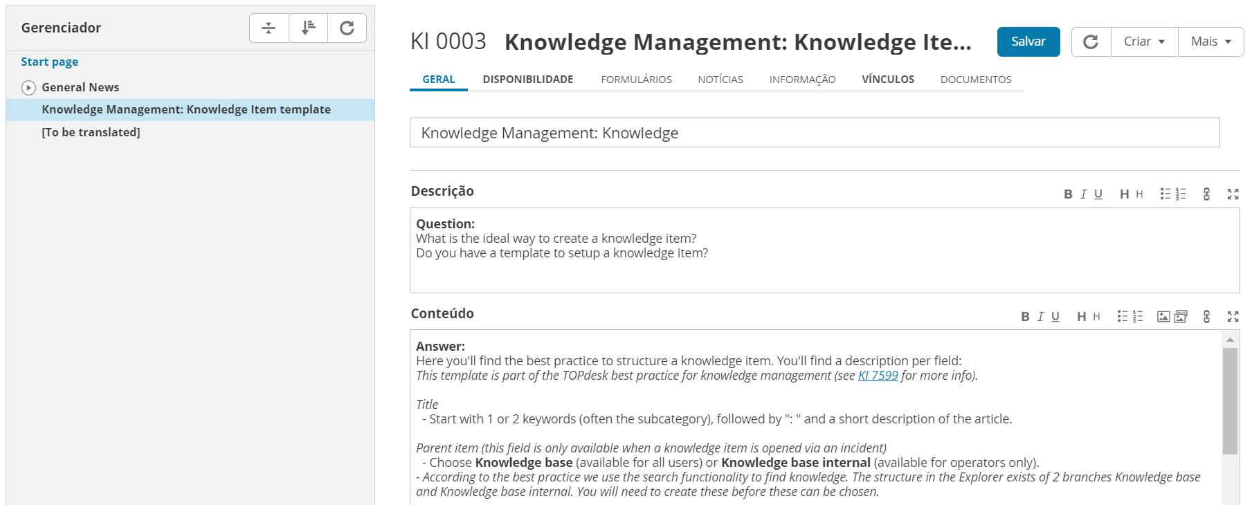 base de conhecimento service desk