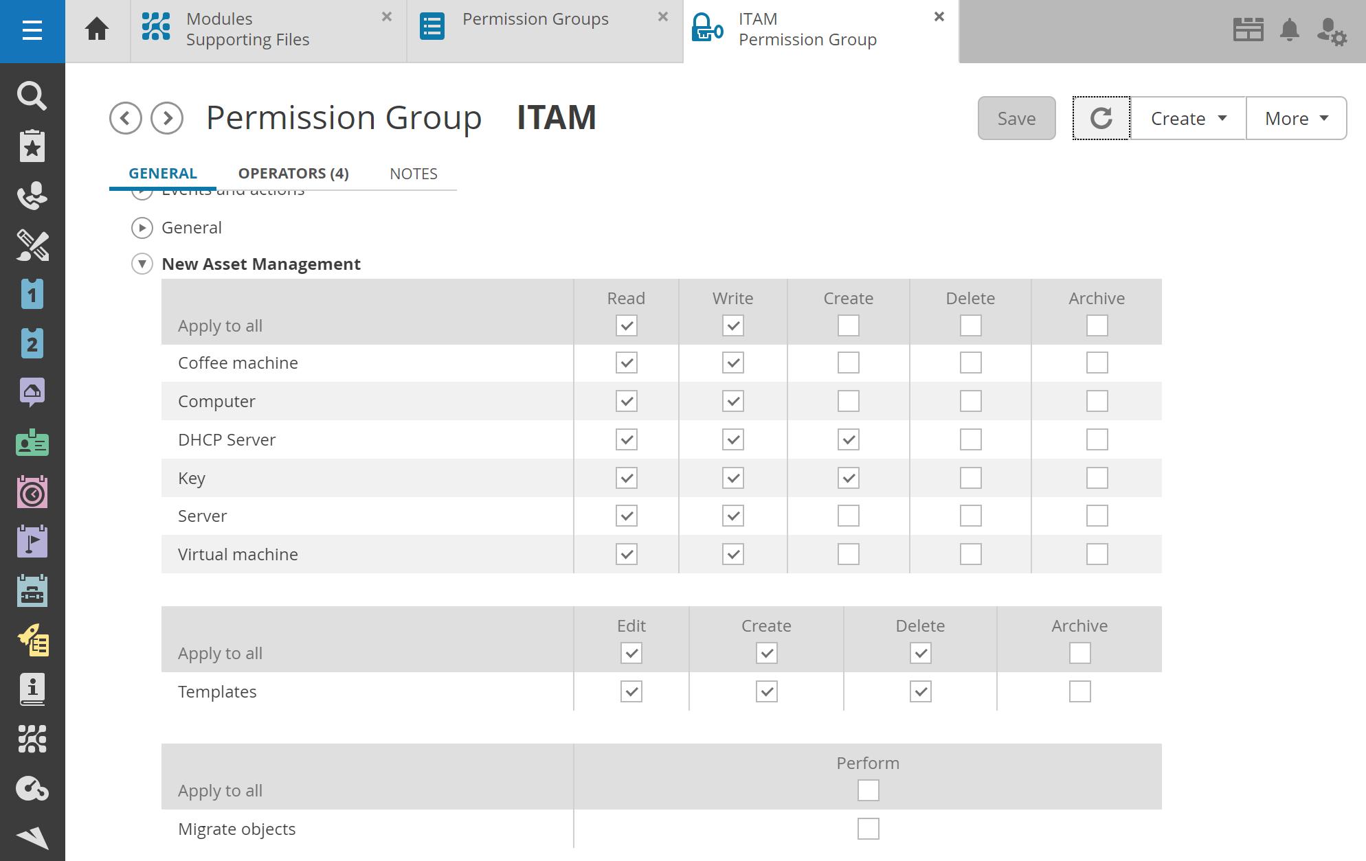 Permission group Asset Management